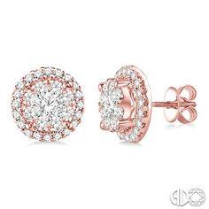 2 Ctw Lovebright Round Cut Diamond Earrings in 14K Pink Gold