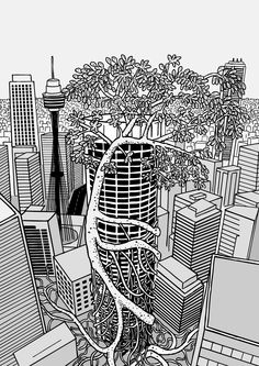 Strangler fig wraps around office tower in downtown Sydney.  Image from Stuart McMillen's comic Thin Air.