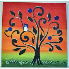 Easy Paintings For Canvas Canvas painting -owl-home Easy Canvas Painting, Simple Acrylic Paintings, Diy Canvas, Easy Paintings, Diy Painting, Painting & Drawing, Canvas Art, Paintings Online, Canvas Paintings