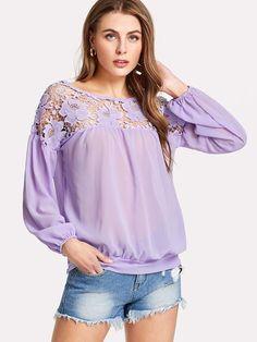 f7e05d28c Shop Floral Lace Shoulder Top online. SheIn offers Floral Lace Shoulder Top  & more to
