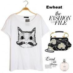 Cat Printed Animals Short Sleeves Round Neck T-shirt