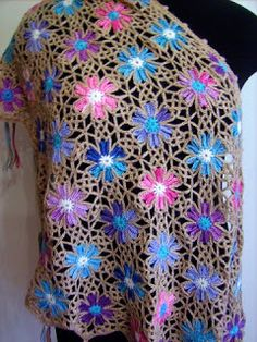 Crochet Poncho, Crochet Granny, Crochet Motif, Crochet Lace, Free Crochet, Crochet Flower Patterns, Crochet Flowers, Jewel Colors, Crochet Squares