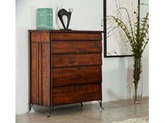 The Forge Chest features blackened metal and rustic wood in a smart, industrial meets heritage-style dresser design. Furniture, Wood, Staining Wood, Dresser Design, Bedroom Furniture Beds, Solid Wood, Barn Wood, Home Decor, Solid Wood Bedroom Furniture