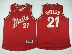 Men's Chicago Bulls #21 Jimmy Butler Revolution 30 Swingman 2015 Christmas Day Red Jersey