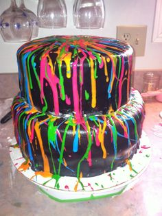 Black splatter cake with neon colors