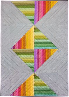Spectrum Candy quilt with Kona Cotton Solids was designed by Merit Quilts. Pattern will be FREE from Robert Kaufman Fabrics.