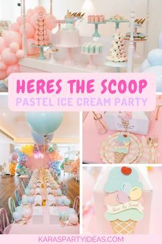 Here's the Scoop Pastel Ice Cream Party via Kara's Party Ideas - KarasPartyIdeas.com