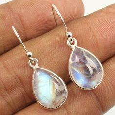 925 Sterling Silver Jewelry Pretty Earrings Natural RAINBOW MOONSTONE Gemstones #Unbranded #DropDangle