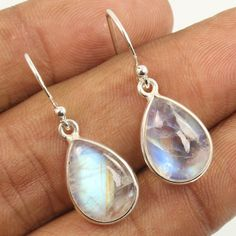 925 Sterling Silver Jewelry Pretty Earrings Natural RAINBOW MOONSTONE Gemstones #Unbranded #DropDangle