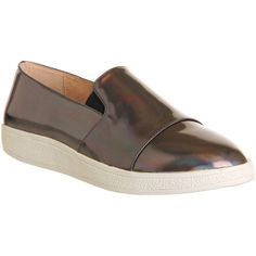 Sol Sana Tab Slip On ($100) ❤ liked on Polyvore featuring shoes, flats, petrol leather, women, leather slip on shoes, white slip on shoes, leather flats, white leather shoes and white flat shoes