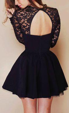 Stitching black lace dress