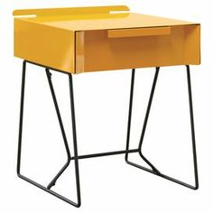 "Showcasing a modern silhouette and sleek open base, this 1-drawer end table is a stylish canvas for a vase of bright blooms or your favorite family photos.  Product: End tableConstruction Material: MetalColor: Yellow saffron and blackFeatures: One easy glide drawerDimensions: 19.72"" H x 15.98"" W x 15.98"" D"