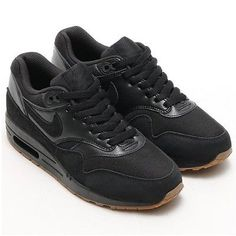 Nike Air Max 1 Essential Womens 599820-020 Black Gum Running Shoes Size 12