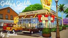 Goldy's Griddle retro roadside diner at Jenba Sims via Sims 4 Updates