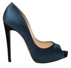Something blue: Alexandre Birman Satin Peep Toe Heel in Green - Lyst