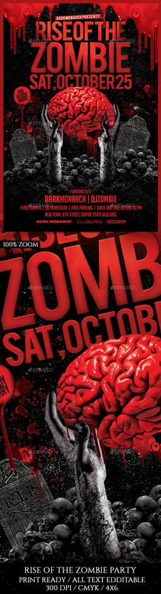 Halloween Zombie Party  Psd Flyer Template  Halloween Zombie
