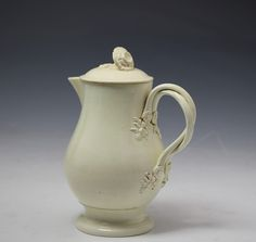Antique English pottery creamware water jug and cover 18th century period