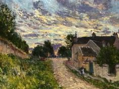 A Path in Louveciennes Artist: Alfred Sisley Completion Date: 1876 Style: Impressionism Genre: cityscape Technique: oil Material: canvas Dimensions: x cm Gallery: Private Collection Tags: houses-and-buildings August Macke, Pierre Auguste Renoir, Edouard Manet, Impressionist Landscape, Landscape Paintings, Ocean Paintings, Impressionist Artists, Oil Paintings, Claude Monet