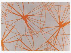 STARFLORAL Large grey and orange wool rug 170 x 240cm