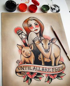 Animal Liberation tattoo design commission, by Quyen Dinh
