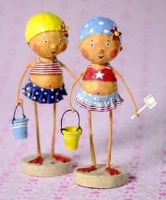 A cute little little girl wearing a bathing suit, sun hat and swim flippers holds her sand pail while sitting atop a large beach ball. Shop Lori Mitchell figurines now! Paper Dolls, Art Dolls, Dolls Dolls, Paper Art, Paper Crafts, Crafts For Kids, Arts And Crafts, Biscuit, Paperclay