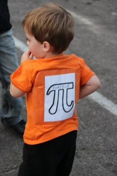 """DIY Homemade Halloween Costumes for Kids: Easy """"Pumpkin Pi Squared"""" made with orange t-shirt. Homemade Halloween Costumes, Halloween Kids, Pi Shirt, Orange T Shirts, Holidays With Kids, Better Life, Pumpkin, Easy, Pumpkins"""