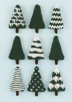 Nine different Christmas trees which can be left as they are or decorated. They are perfect for making baubles, hanging ornaments, garlands and other decorations. Find this pattern at LoveCrochet.Celebrate this festive season with a Christmas tree cr Crochet Christmas Decorations, Christmas Tree Pattern, Crochet Decoration, Crochet Christmas Ornaments, Holiday Crochet, Christmas Knitting, Christmas Crafts, Free Christmas Crochet Patterns, Crochet Ornament Patterns