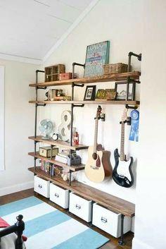 Industrial shelves for the boys