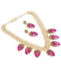 Golden & Pink Stone Embellished #Necklace #Set