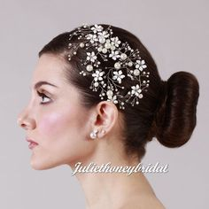 Long bridal comb  pearl hair comb  wedding by Juliethoneybridal
