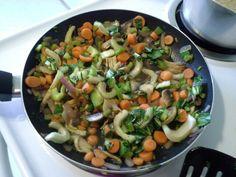 Teriyaki veggie stir fry with bok choy mushrooms carrots red onions celery and cilantro