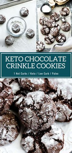 These Keto Friendly Holiday Cookies Are Perfect For Chocolate Lovers! You'll love these classic Chocolate Crinkle Cookies made healthier with low carb and gluten free ingredients. So soft, chewy, fudgy and perfect for Christmas cookie platters! Chocolate Chip Shortbread Cookies, Toffee Cookies, Chocolate Crinkles, Chocolate Marshmallows, Chocolate Cookie Recipes, Keto Cookies, Healthy Cookies, Yummy Cookies, Marshmallow Cookies