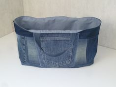 Sac Cabanel en jean recyclé, neutre, doublé coton uni gris : Sacs à main par chadanel