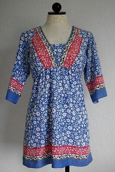CHARLOTTE RUSSE India Boho Hippie Floral Print Woven Cotton Kurta Top Shirt- M