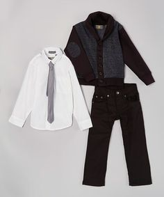 Charcoal & Black Elbow Patch Cardigan Set - Infant, Toddler & Boys #zulily #zulilyfinds