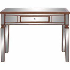 "Reminiscent of Old Hollywood style, this lustrous wood console table showcases glamorous mirrored surfaces and 1 drawer.    Product: Console tableConstruction Material: Mirrored glass and wood Color: SilverFeatures: One drawer Dimensions: 35"" H x 42"" W x 15"" D"