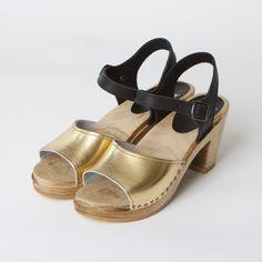 Gold Metallic Clogs