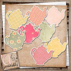 U printables by RebeccaB: FREE Print/Print and Cut - Teapots