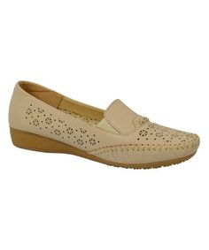 Love this Beige Perforated Wedge Loafer on #zulily! #zulilyfinds