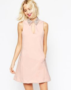 How cute this dress is?!  ASOS Embellished Collar Scuba Shift Mini Dress