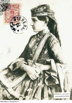 A Qajar era post card with the photo of a beautiful Armenian Girl on it from Jolfa-Isfahan. The stamp carries Naseroddin Shah's photo dated 1896.Jolfa is the Armenian quarter of Isfahan, Iran, located along the south bank of the river Zayandeh Rood.