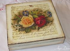 Decoupage is an art that can help you unleash your imagination and creativity! Here are some ideas what you can decoupage! Altered Cigar Boxes, Craft Projects, Projects To Try, Box Roses, Decoupage Art, Shabby Chic Crafts, Pretty Box, Painted Boxes, Keepsake Boxes