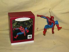 SPIDER MAN ORNAMENT HALLMARK 1996 KEEPSAKE CHRISTMAS MARVEL COMICS BOX HOOKS