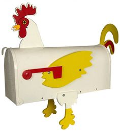 Rooster Decorative Residential Novelty Curbside Post Mount Mail Box  http://www.mailboxworks.com/residential-mailboxes/novelty/morethan-mailbox-rooster.html