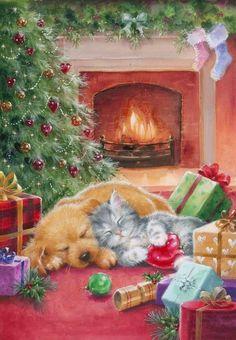 Christmas Scenery, Christmas Hearts, Noel Christmas, Christmas Animals, Christmas Pictures, Vintage Christmas, Christmas Paintings On Canvas, Christmas Artwork, Christmas Drawing