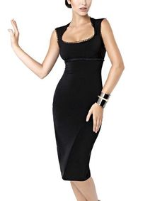 Love this Black Lace-Trim Pencil Dress on #zulily! #zulilyfinds