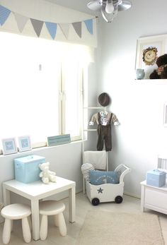 Light grey and blue baby room. Nursery idea.