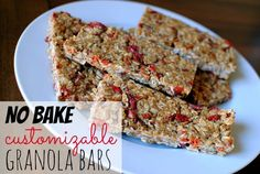 No Bake Customizable Granola Bars: Only 5 minutes of prep time and you can easily change them up to your liking by adding your favorite mix-ins!