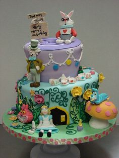 Alice in Wonderland Cake by sweetcakesbyrebecca, via Flickr