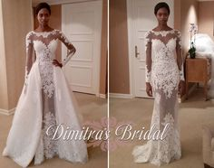 Zuhair murad mia wedding gown with long sleeves and dramatic removable train dimitras bridal boutique chicago